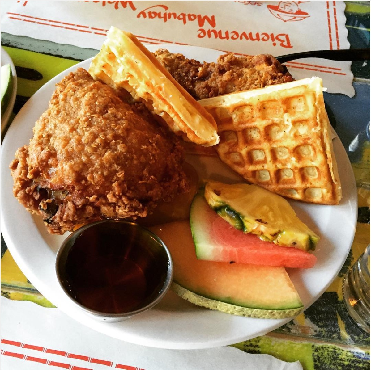 Delicious fried chicken and waffle from Junior