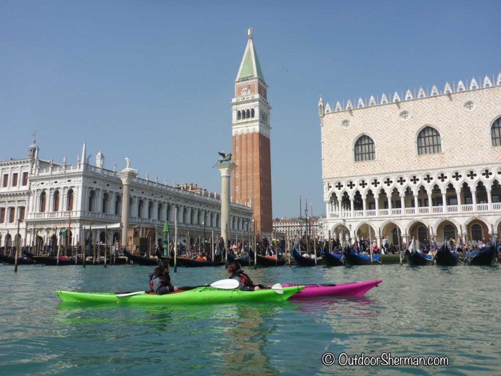 Admiring the view of San Marco Square from a kayak