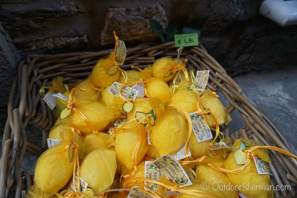Buying lemon soaps from Cinque Terre