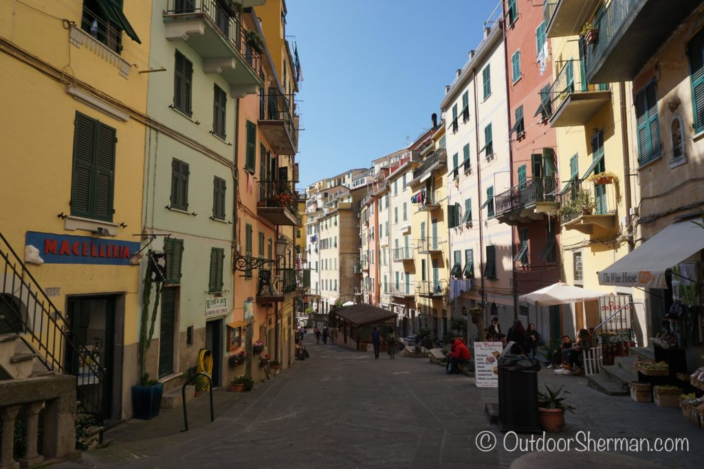 Walking down the main street of Riomaggiore