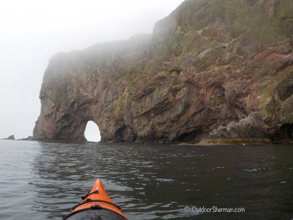 Kayaking in Gaspesie to Rocher Perce